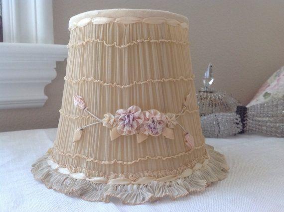 Antique pink ribbon work shabby cottage boudoir lamp shade aloadofball Choice Image