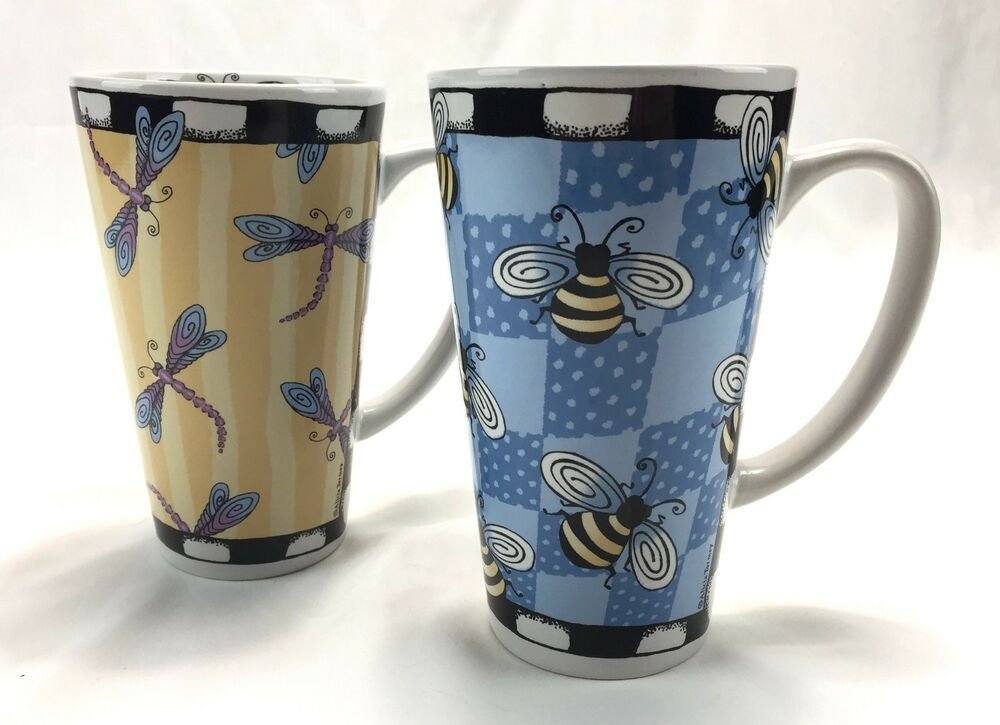 823a9c927e7 Bug Me Mugs Dragonfly Bee Alicia Tormey Designs Signature Set 2 Tall ...