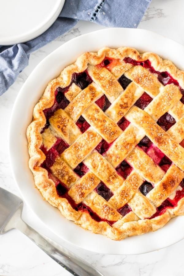 This mixed berry pie has triple the deliciousness because we're using 3 types of berries! The fruit