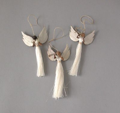 Homemade Angel Christmas Ornaments | which are handmade in Kenya from sisal  and banana fiber. One angel . - Weekend Review Crafts Christmas, Christmas Ornaments, Christmas