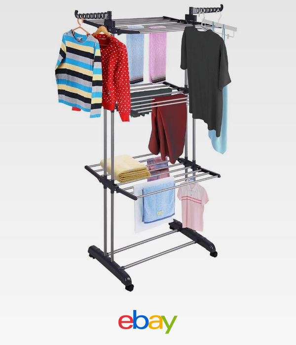 Details About 3tier Stainless Laundry Organizer Folding Drying Rack Clothes Dryer Hanger Stand Clothes Drying Racks Coat Hanger Stand Drying Rack Laundry