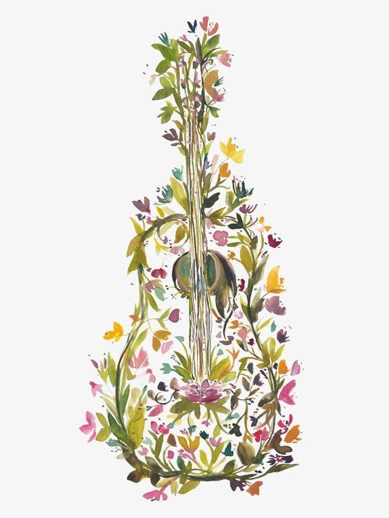 Creative guitarra,Hojas verdes,Instrumentos musicales,Musica,Flores ...