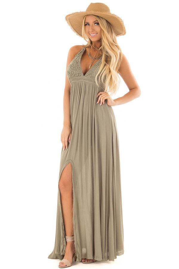 1287c055038 Lime Lush Boutique - Olive Halter Top Maxi Dress with Lace Details