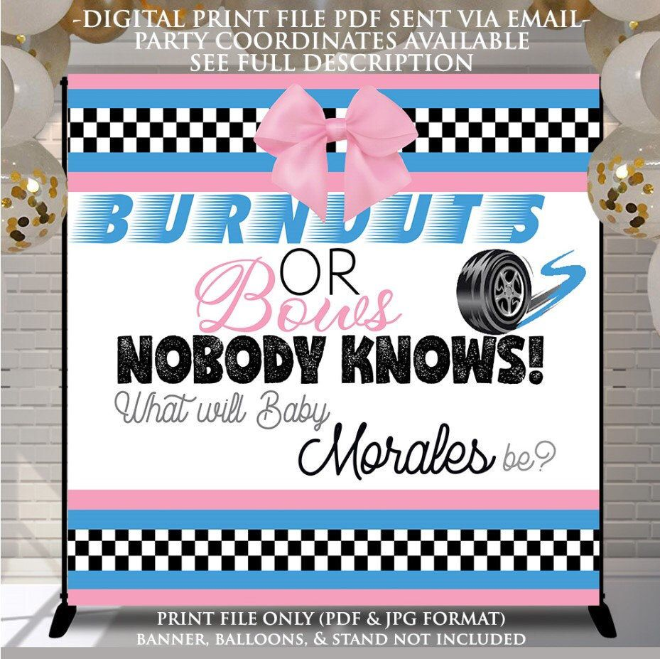 Burnouts Or Bows Gender Banner Backdrop Burnouts Or Bows Etsy In 2021 Gender Reveal Party Theme Gender Reveal Signs Gender Reveal Decorations