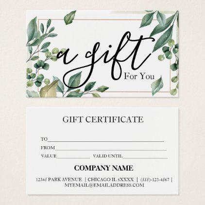 Simple Modern Business Gift Certificate Zazzle Com Gift Card Design Gift Certificates Gift Voucher Design