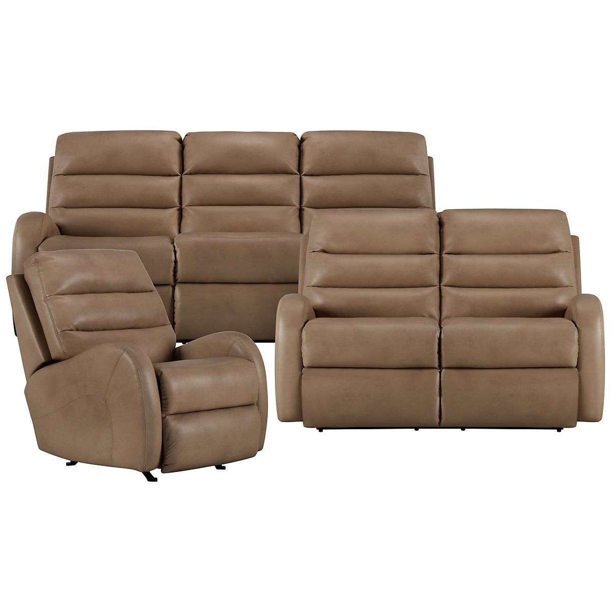 Carver beige microfiber power reclining living room city