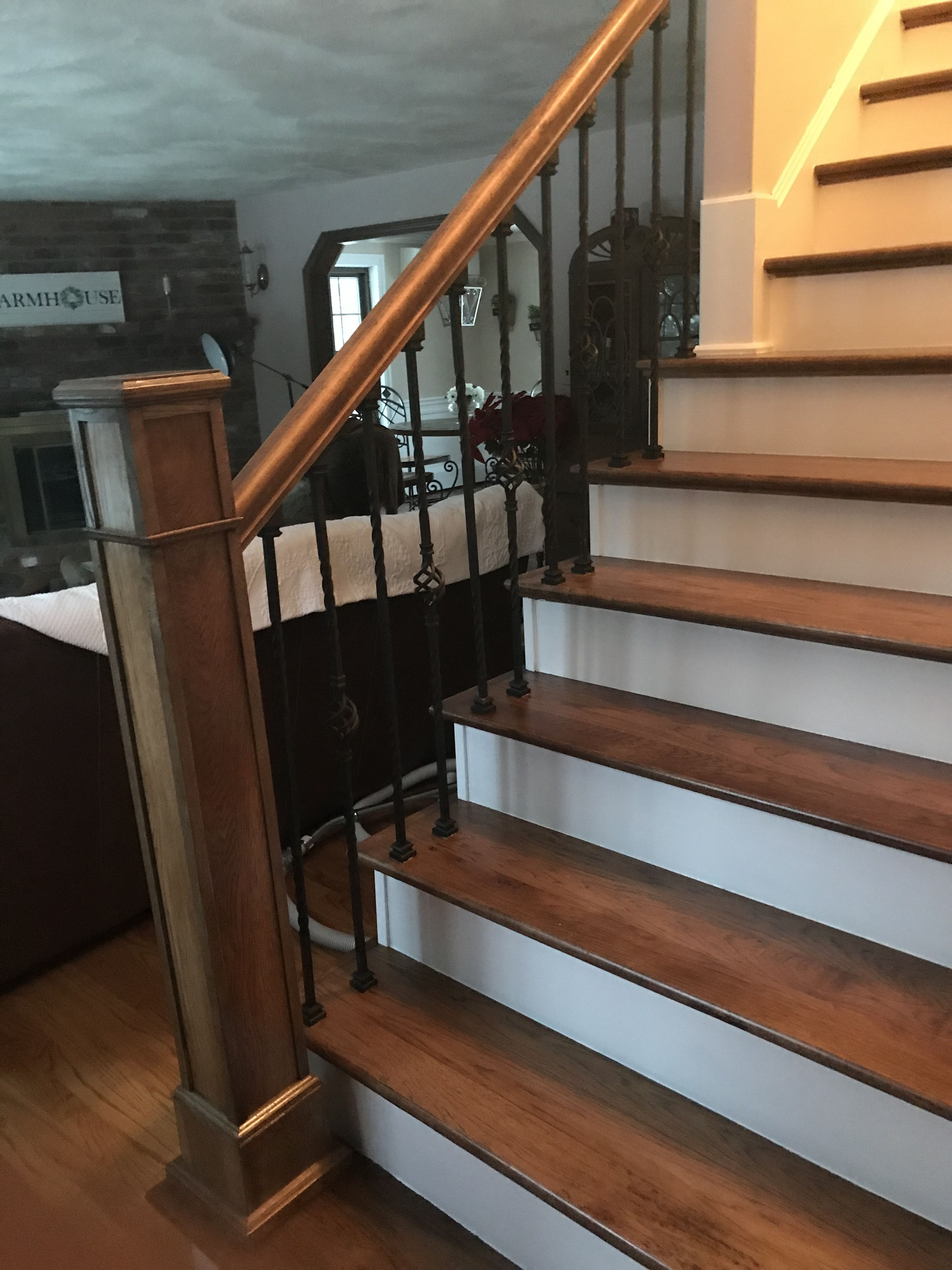 Best Custom Built Hickory Newel Post Railing And Stair Treads Installed And Built By Snhwoodworks 400 x 300