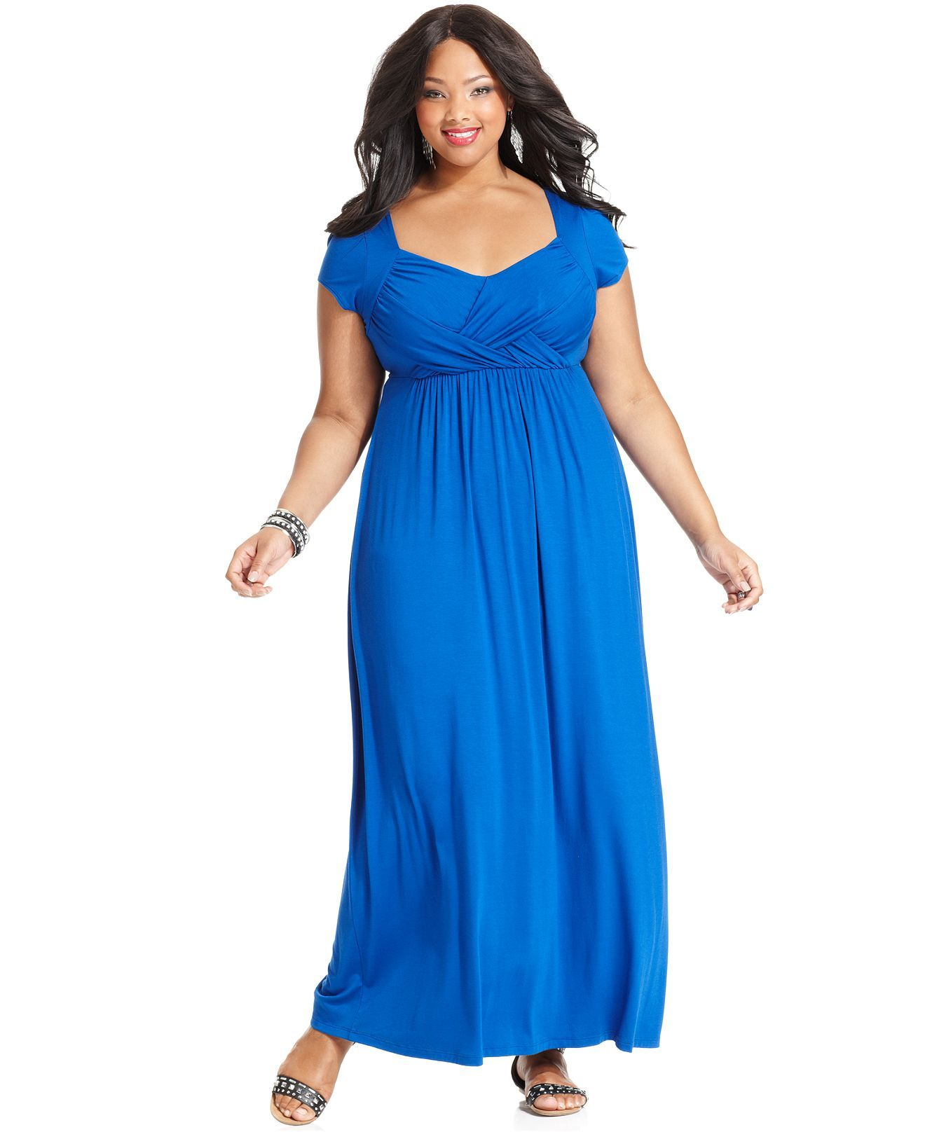Soprano Plus Size Dress, Cap-Sleeve Empire-Waist Maxi - Plus ...