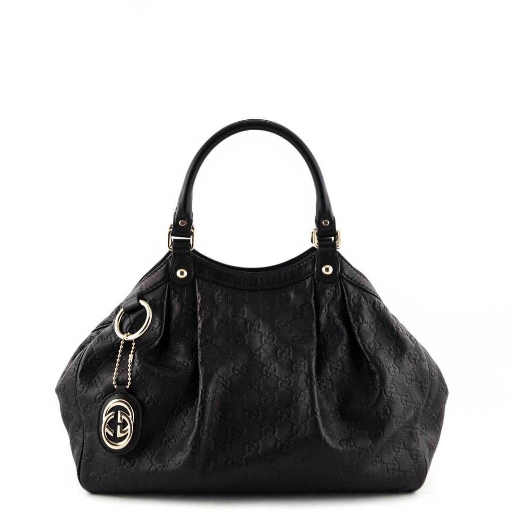 Gucci Black Guccissima Medium Sukey Tote Love That Bag Preowned Authentic Designer Handbags
