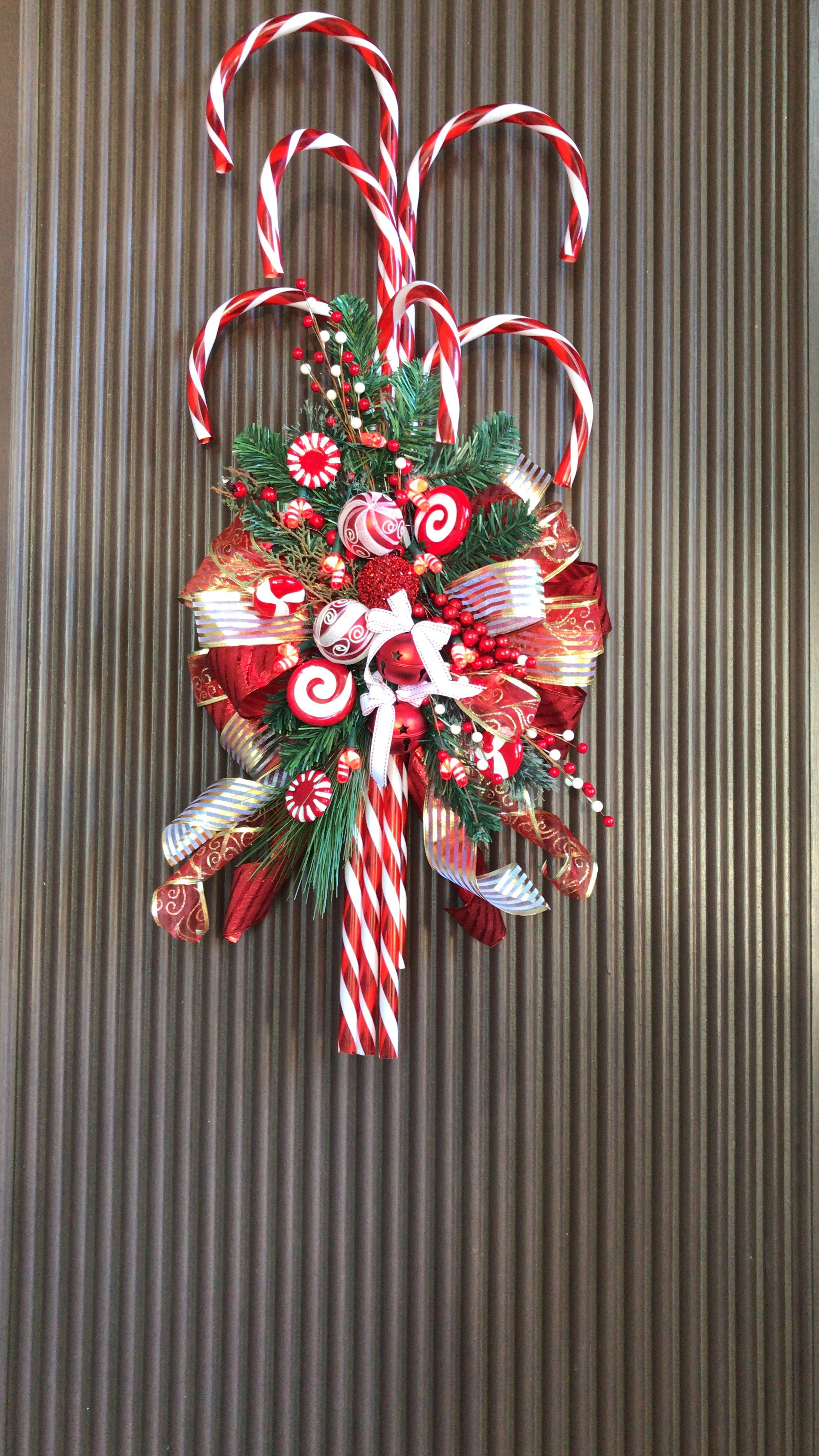 My Inspired Candy Cane Door Garland Love It Christmas Diy Christmas Crafts Diy Christmas Door Decorations