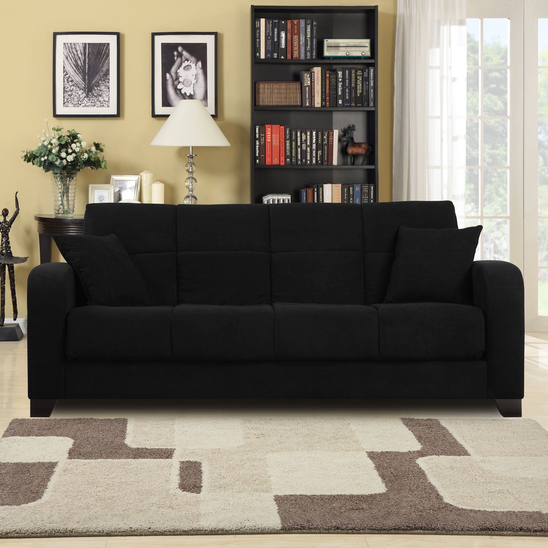 Brainy Black Microfiber Sofa In 2020 Futon Sofa Sofa Microfiber Sofa