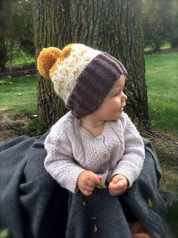 e21d5f8643d Knit Baby Pom Pom Hat Brown Yellow Ivory Knit Hat Baby Boy