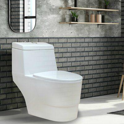 Fine Fixtures Modern Dual Flush Elongated One Piece Toilet Seat Included One Piece Toilets Modern Toilet Toilet Seat