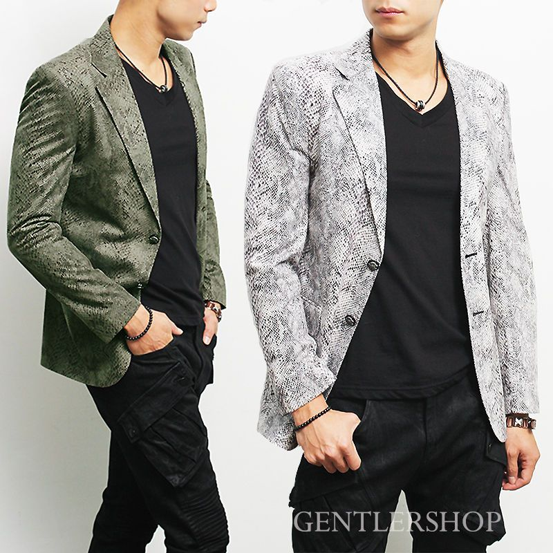 Mens Fashion Snake Pattern Notched Lapel Suit Jacket - Black/Kahki, GENTLERSHOP