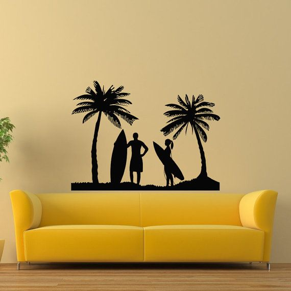 Surfing Wall Decal- Beach Wall Decal- Surfing Beach Sports Decals ...