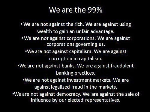 The REAL agenda of the 99%.
