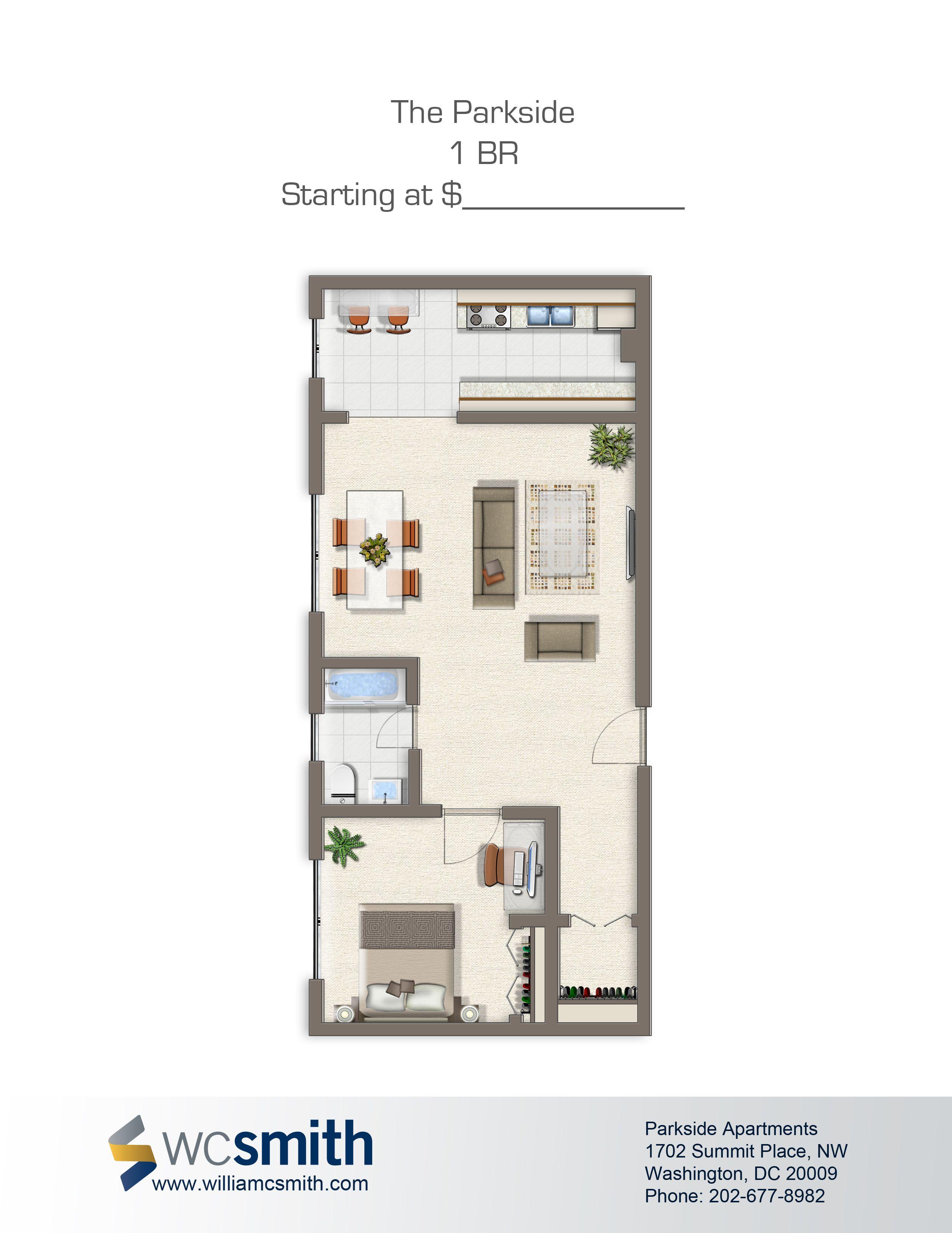 Parkside Apartments In Washington DC Bedroom floor plans