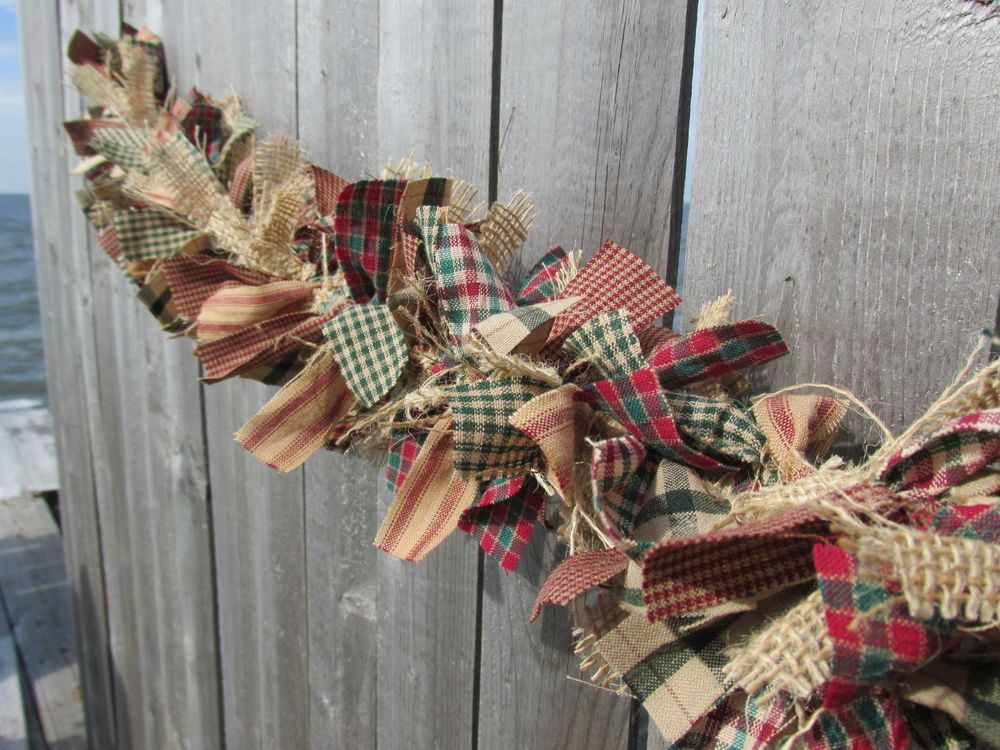 Antique Christmas Garland Burlap Homespun Fabric Jute Rustic