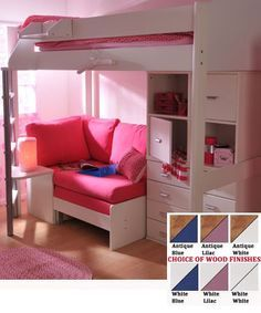Teen Girls Loft Bed With Desk Stompa Casa 6 Kids High