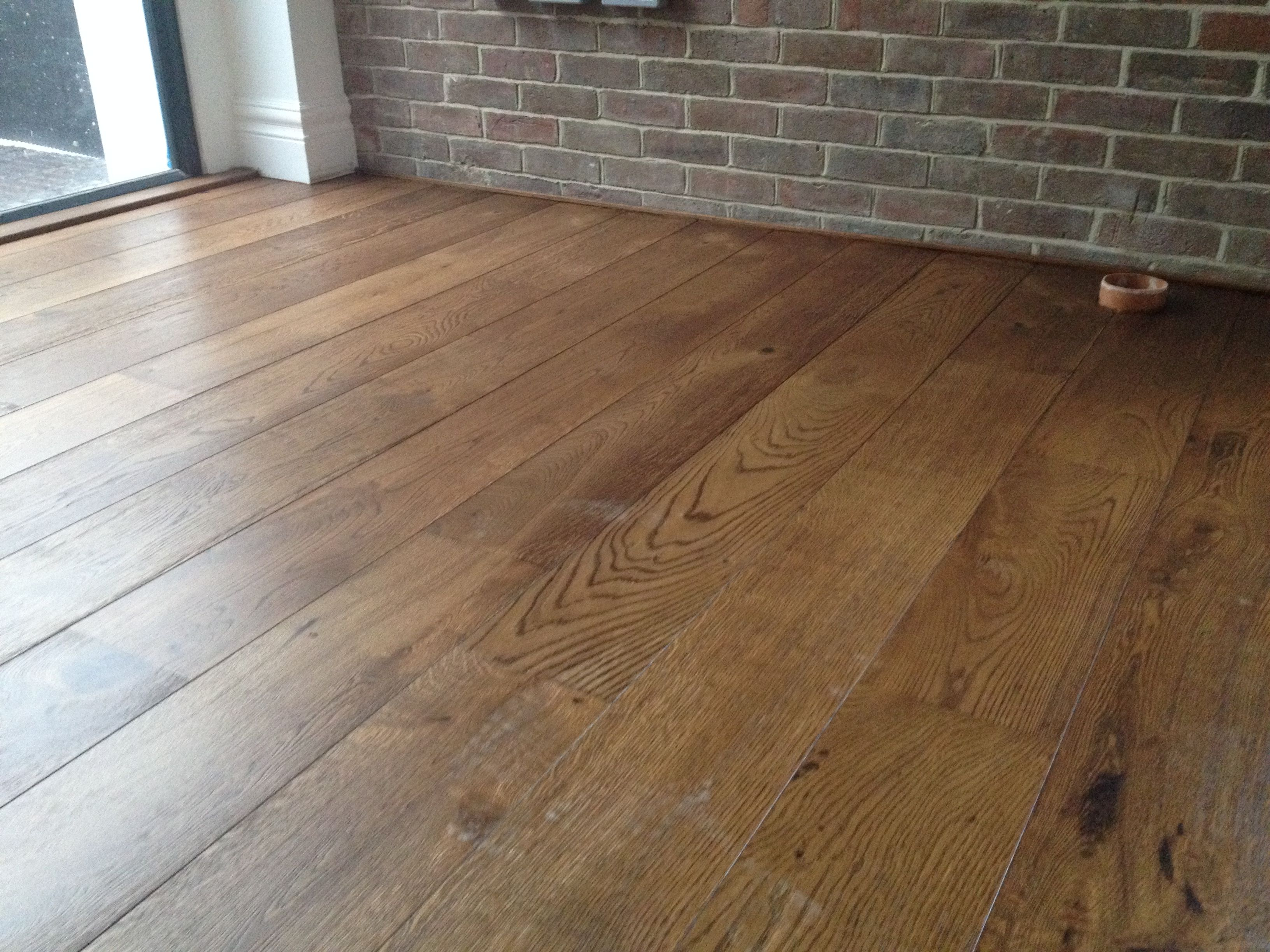 Unfinished Brushed Oak Engineered Wood Flooring Stained Dark And