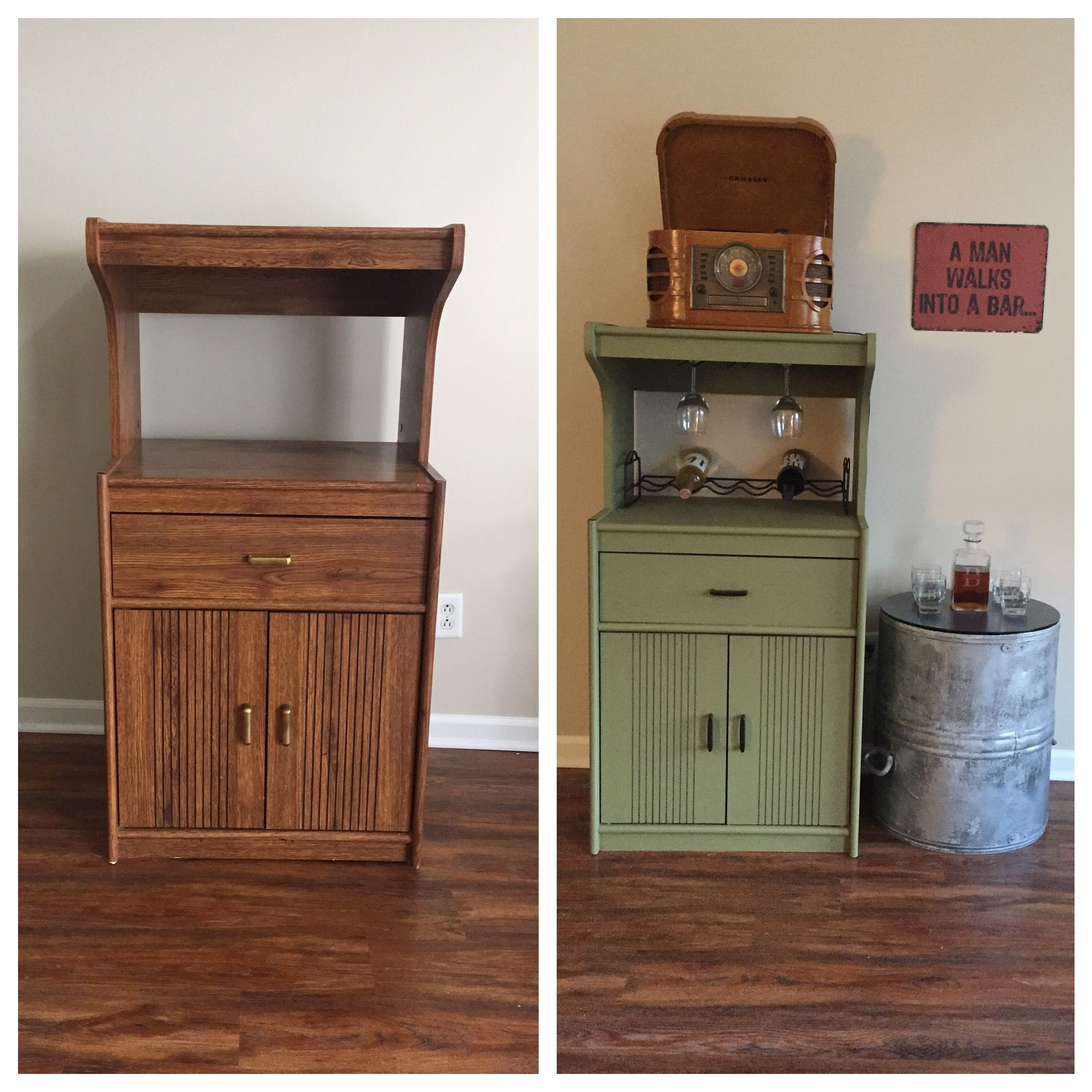 Furniture Makeover Old Microwave Stand Into A Mini Bar Diy