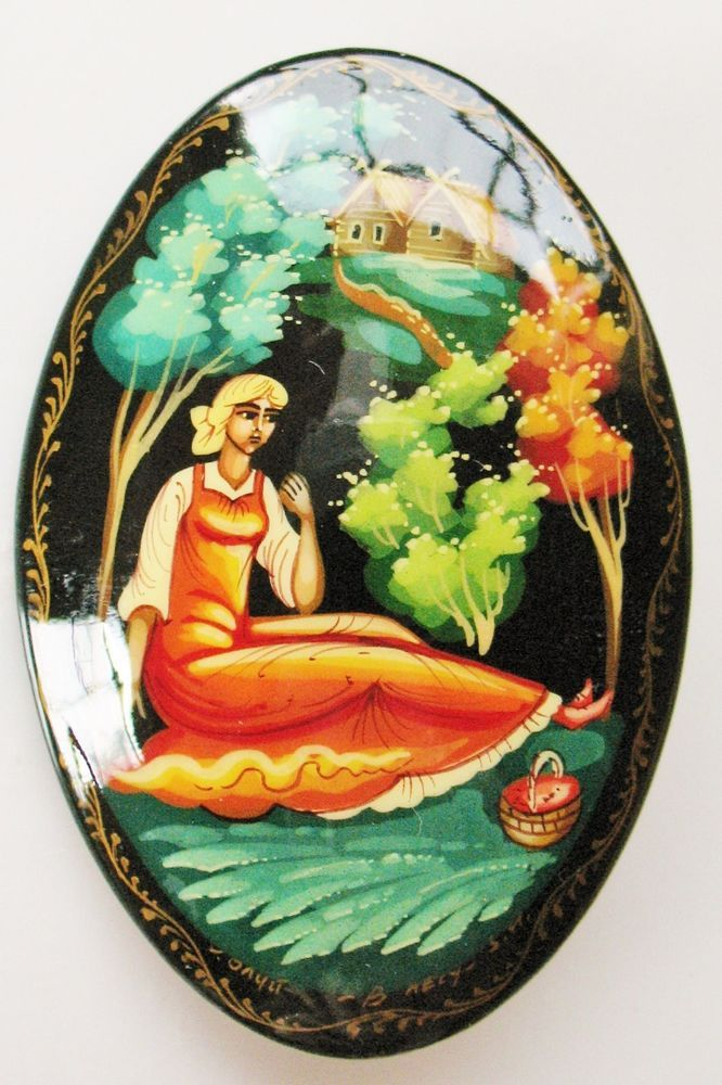 Signed Russian Russia Hand Painted Lady Girl In The Woods Lacquer Pin Brooch