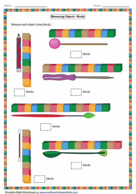 measuring length of the objects with blocks classroom worksheets pinterest math. Black Bedroom Furniture Sets. Home Design Ideas