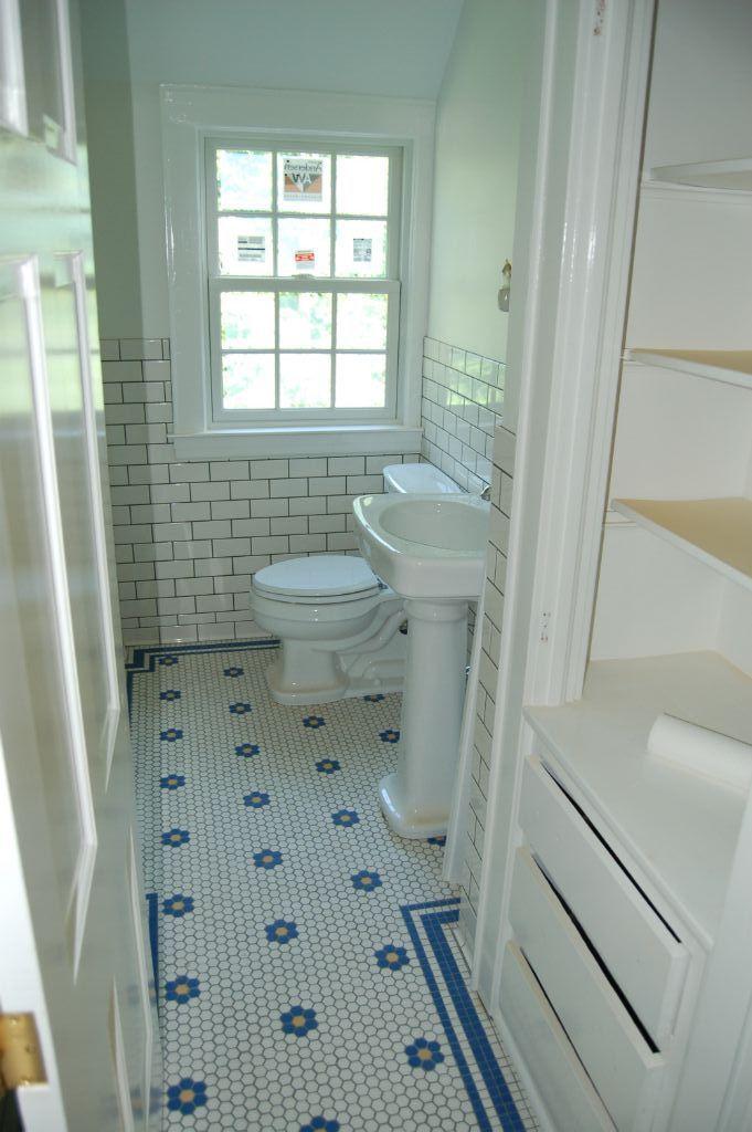 Hex subway tile bathroom home pinterest bath for Bathroom floor patterns