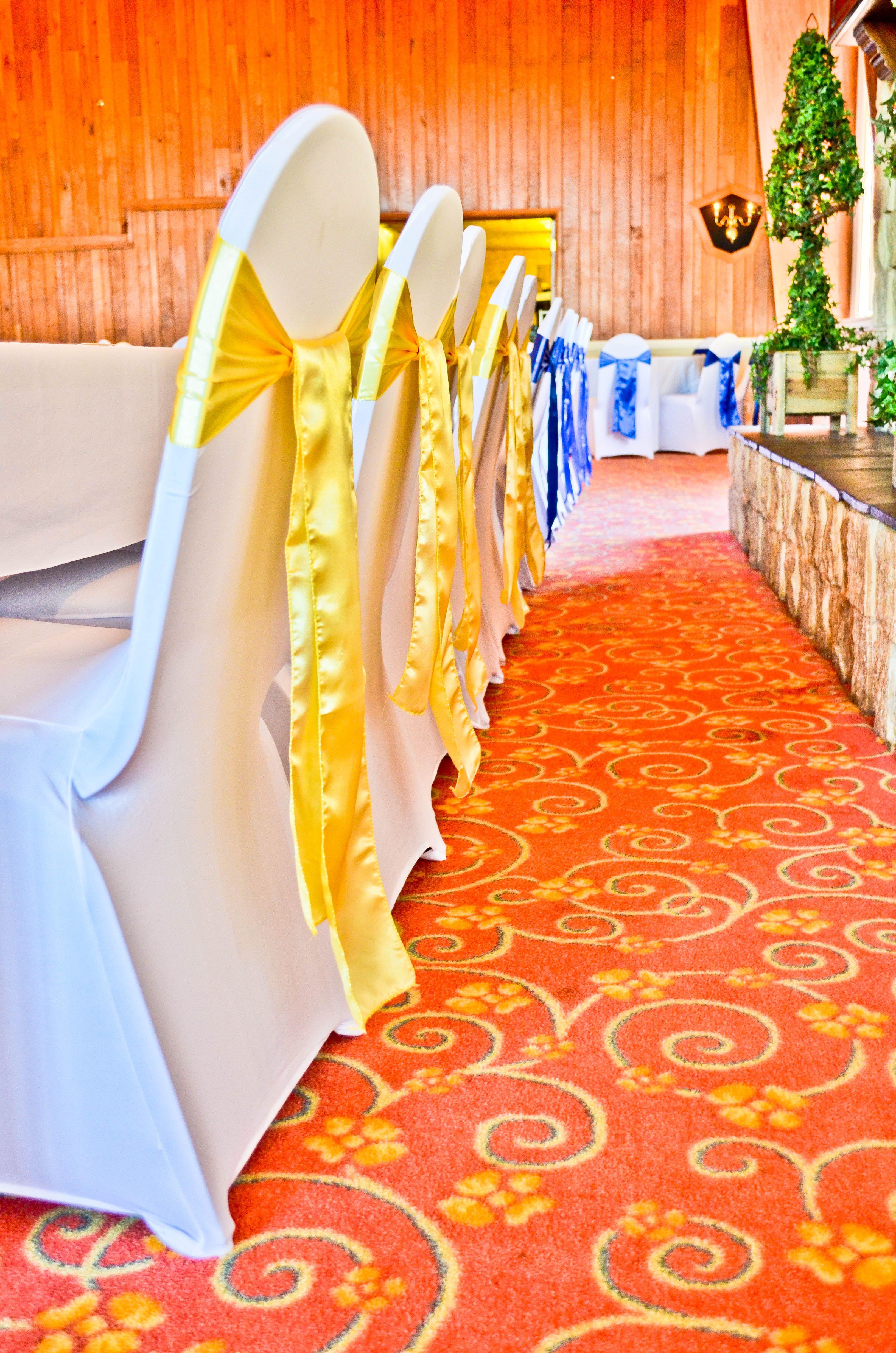 White Spandex Chair Covers, Royal Blue U0026 Yellow Satin Chair Sashes