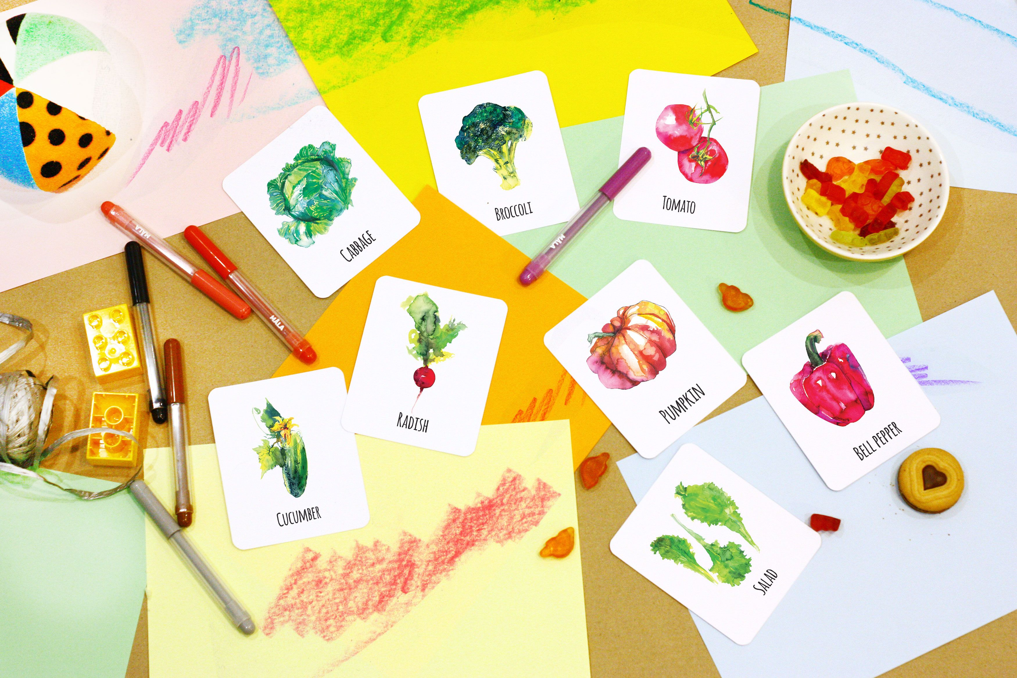 Vegetable Cards Learning Flashcards Printable Kids Cards