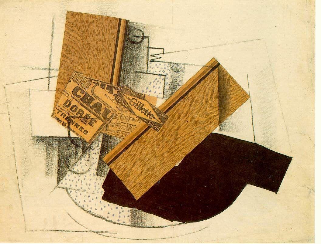 Souvent Braque - Martwa natura na stole, Collage, 1914; kubizm syntetyczny  RG39