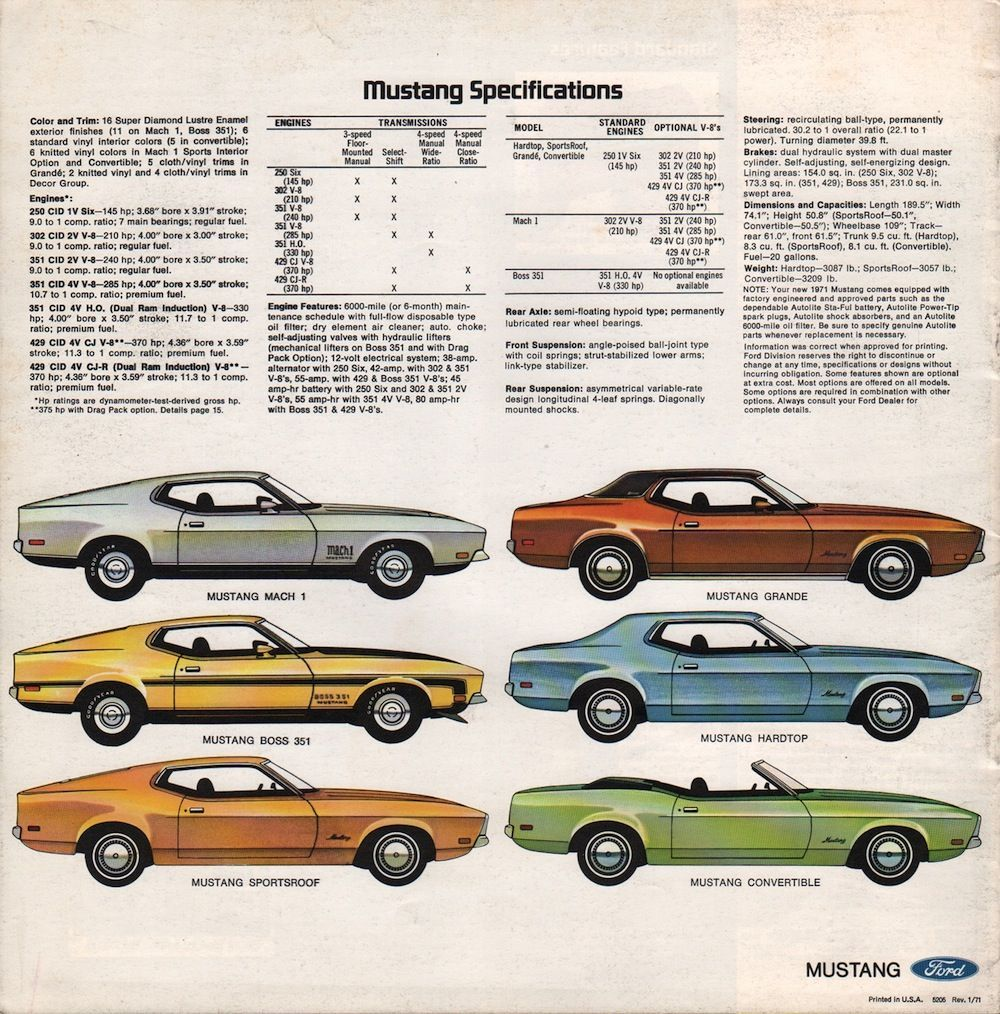 Ford 1971 Mustang Sales Brochure Mustangclassiccars Ford Mustang 1971 Ford Mustang Ford Mustang History