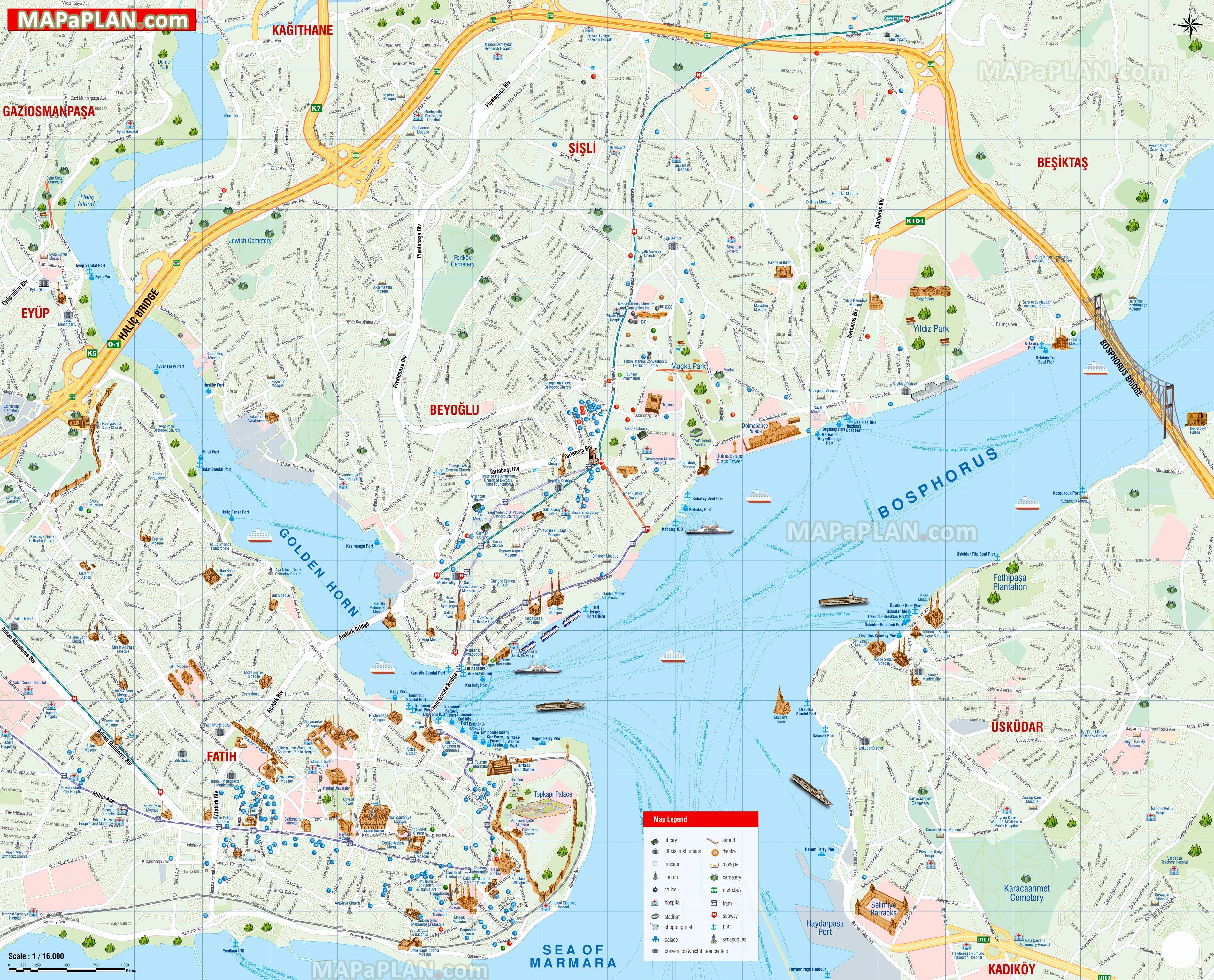 map of istanbul turkey in english