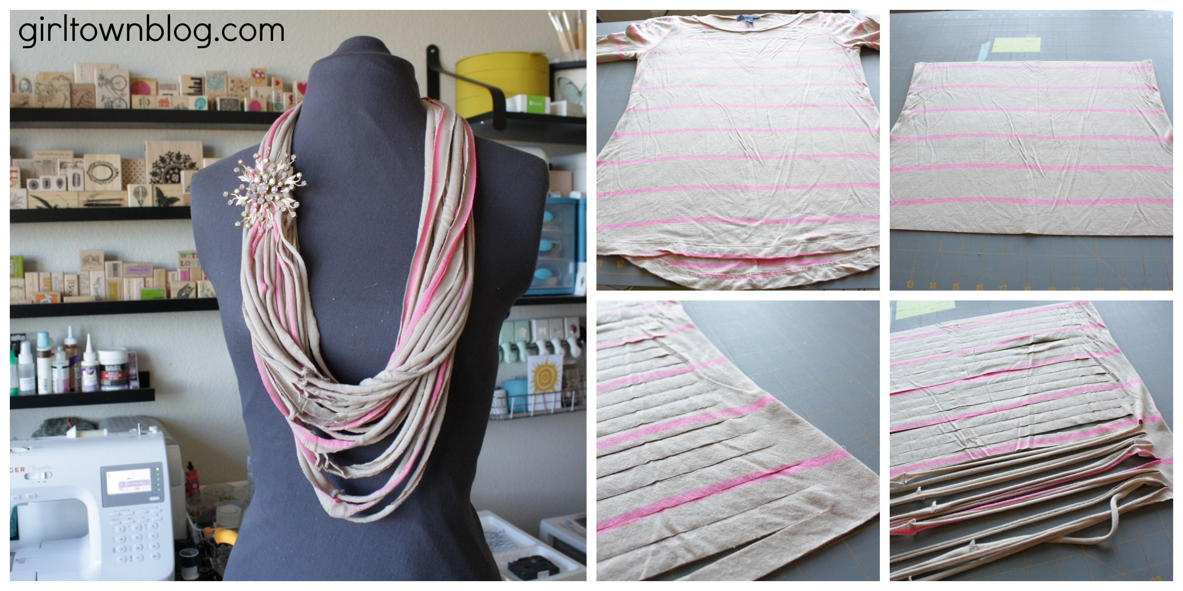 use seamless t-shirt or double wrap around neck.....repurposed_shirt_scarf