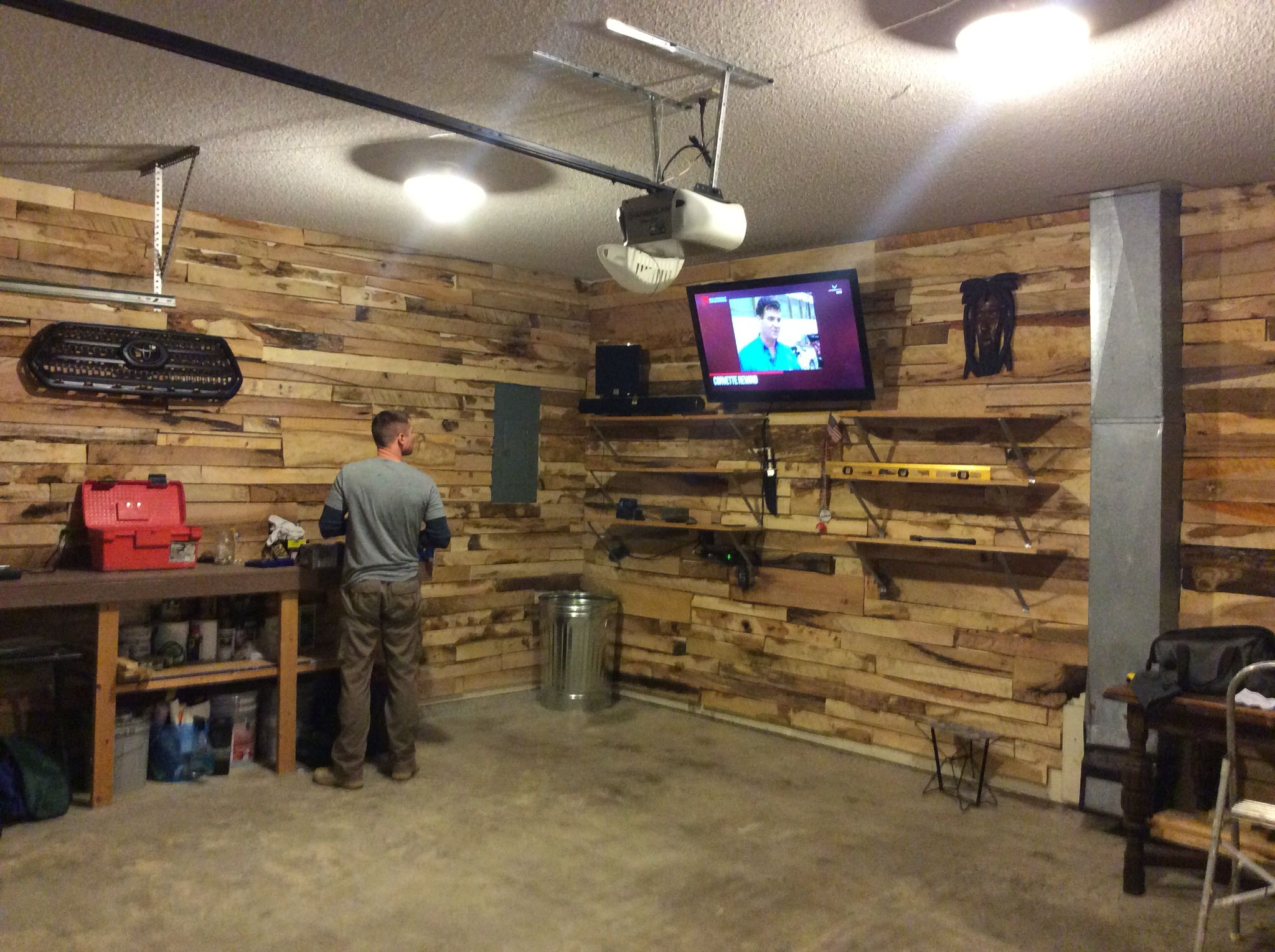Man cave / garage. Reject pallet wood from local sawmill ...