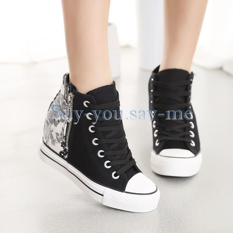 f00e5350fecf Women s Lace Up Canvas Platform High Top Hidden Wedge Trainers Sneaker Shoes