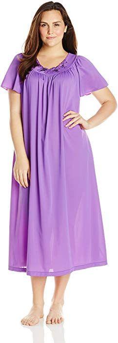 3ec84d1f2d4b2 Shadowline Women s Plus-Size Petals 53 Inch Short Flutter Sleeve Long Gown