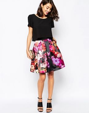 fc7f2af96e0c Ted Baker Full Skirt with Tulle in Cascading Floral Print