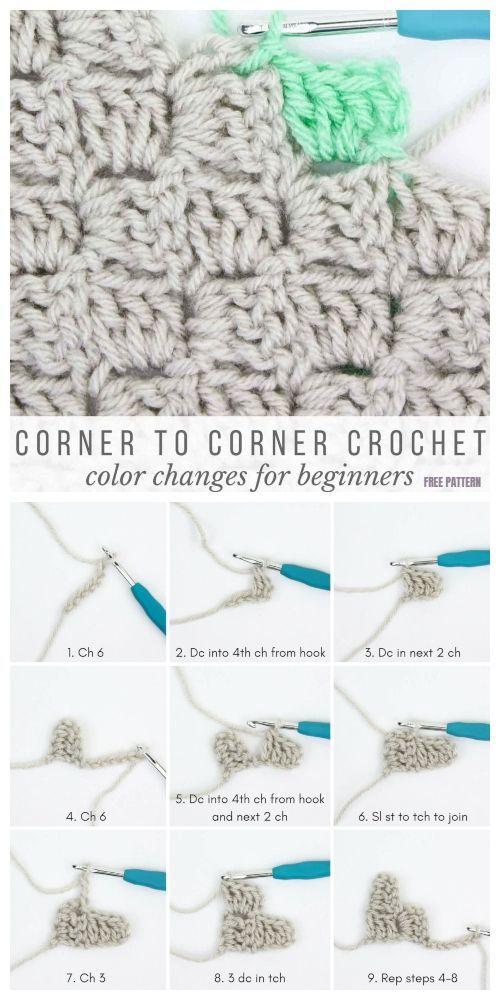 How to Crochet Corner to Corner For Beginner Tutorial #c2c Häkeldecken C2C Croc…