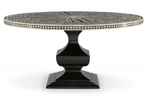 Bernhardt Dining Table Patterned Bone Inlay Top In Black Ivory