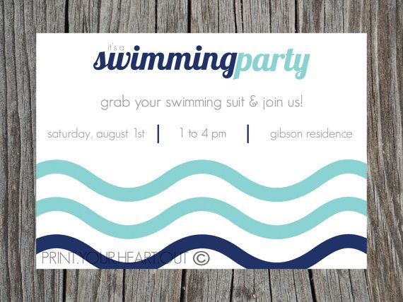 Swimming Pool Party Invitation Printable by PrintYourHeartOut