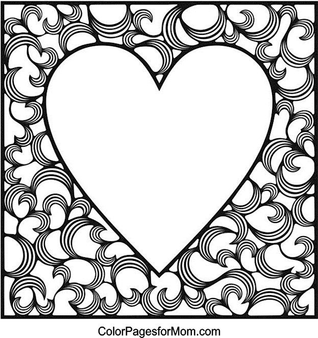 hearts coloring page 4