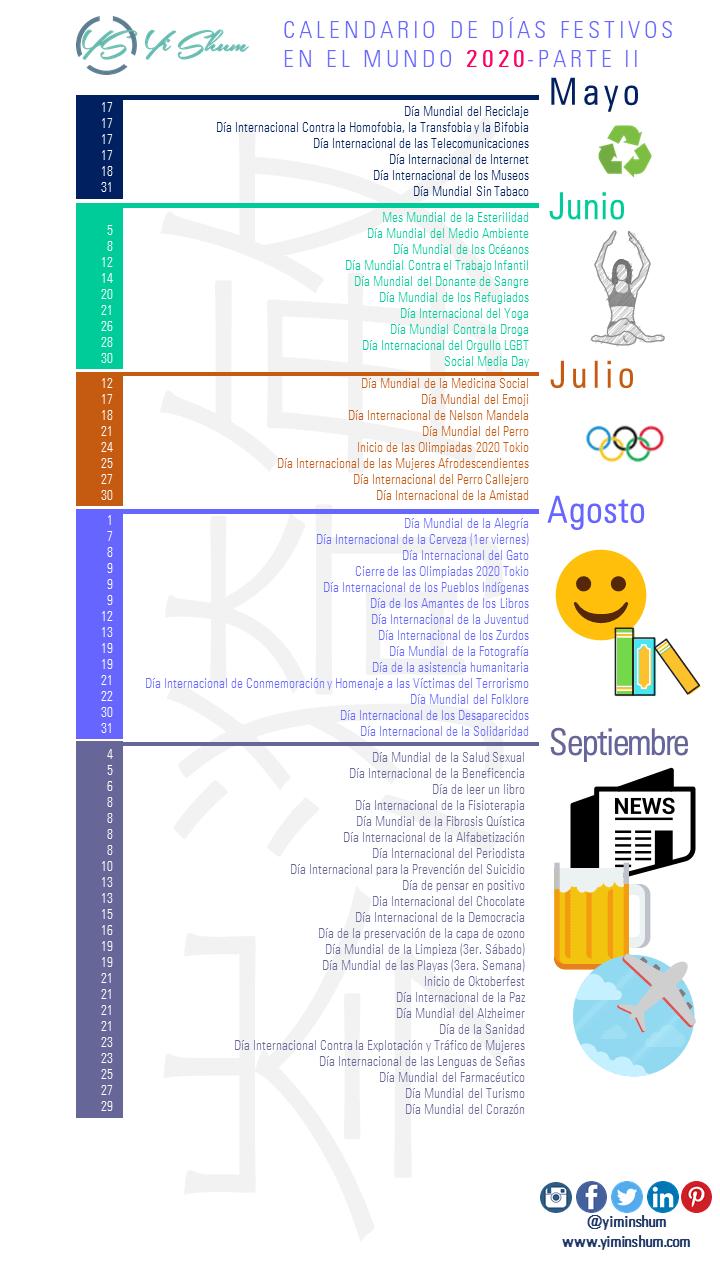 Calendario De Fechas Festivas Del Mundo 2020 Parte 2 Imagen Calendario Calendario De Salud Dia Mundial Del Ambiente