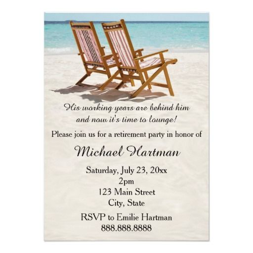Beach Chairs Retirement Party Invitations  Retirement Parties