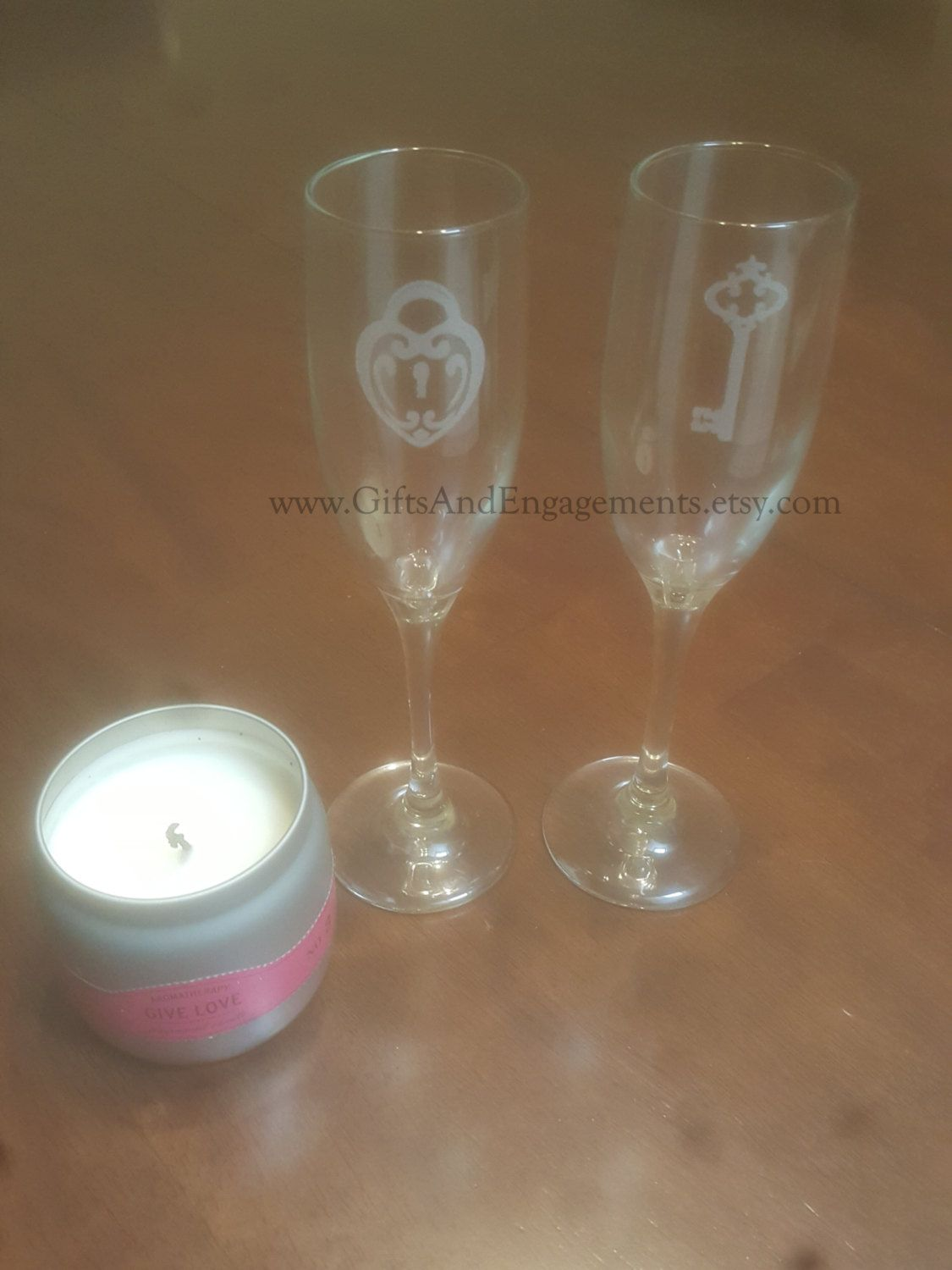 Lock & Key Champagne Flute Set by GiftsAndEngagements on ...