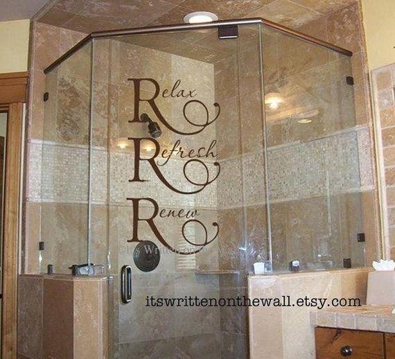 relax refresh renew vinyl wall quote bathroom decoration shower door decoration