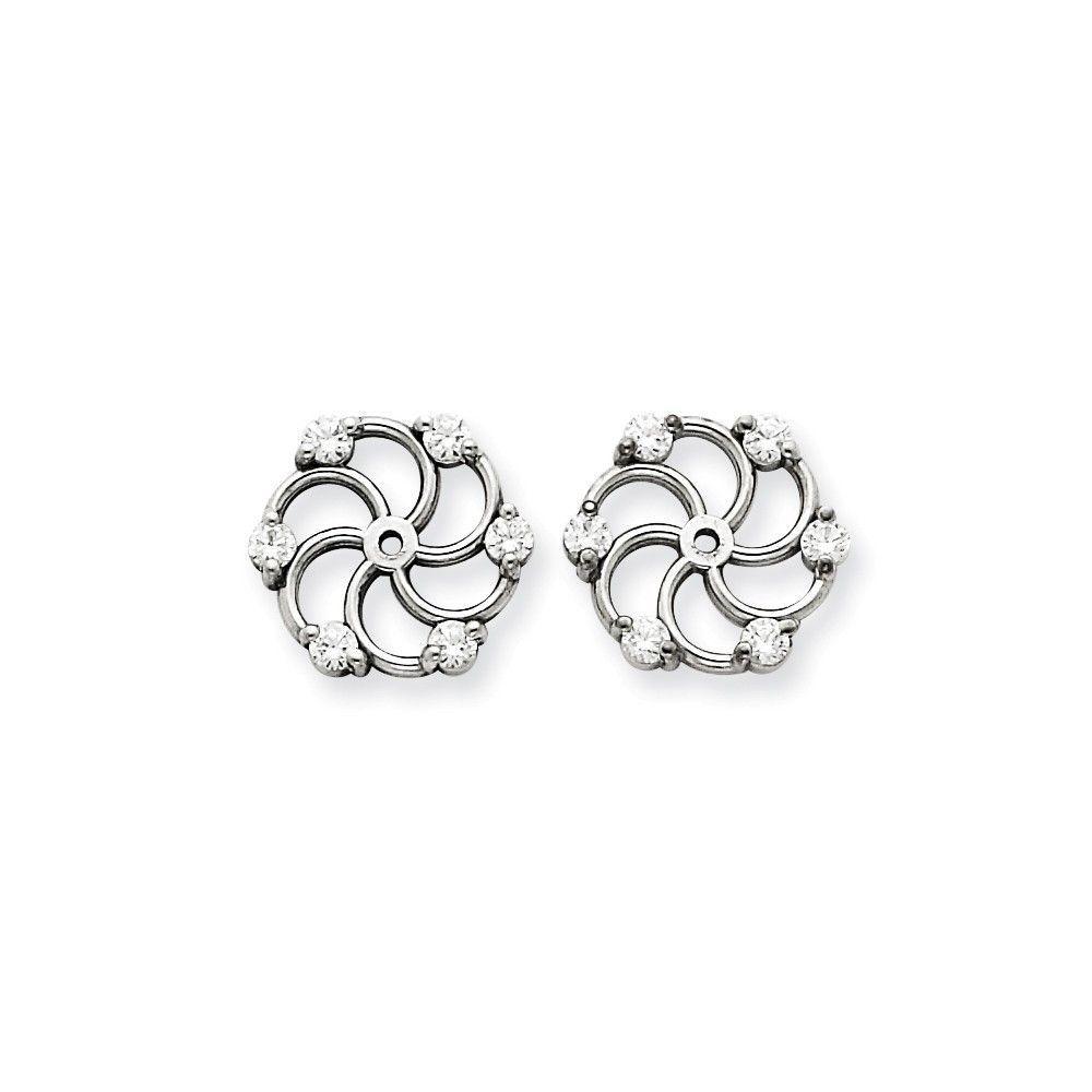 Sterling Silver W// Rhodium-plated Diamond Earring Jacket 0.5IN Diameter