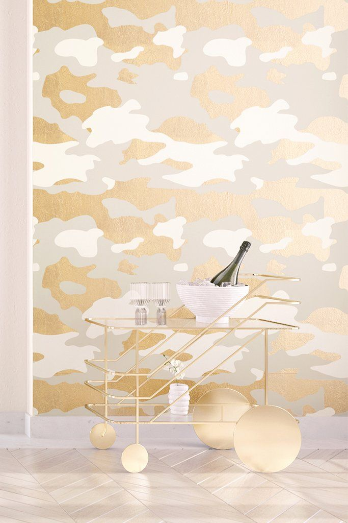Wallpaper camo gold drop it modern wallpaper collaboration with gillian segal design