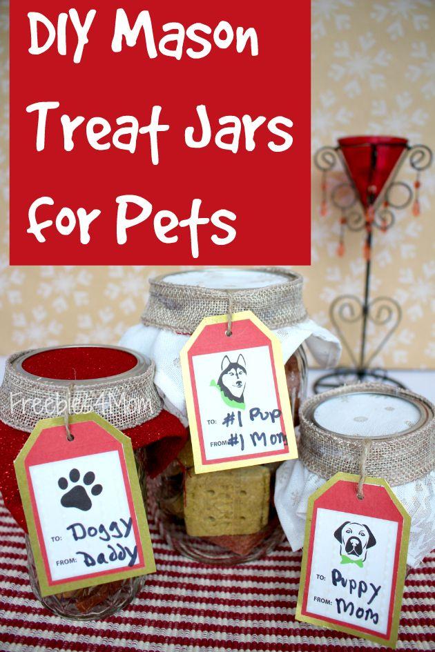 Look what I made for my puppy ~ DIY Mason Treat Jars Gifts for Pets SeasonsTreatings http://freebies4mom.com/treatjars #ad