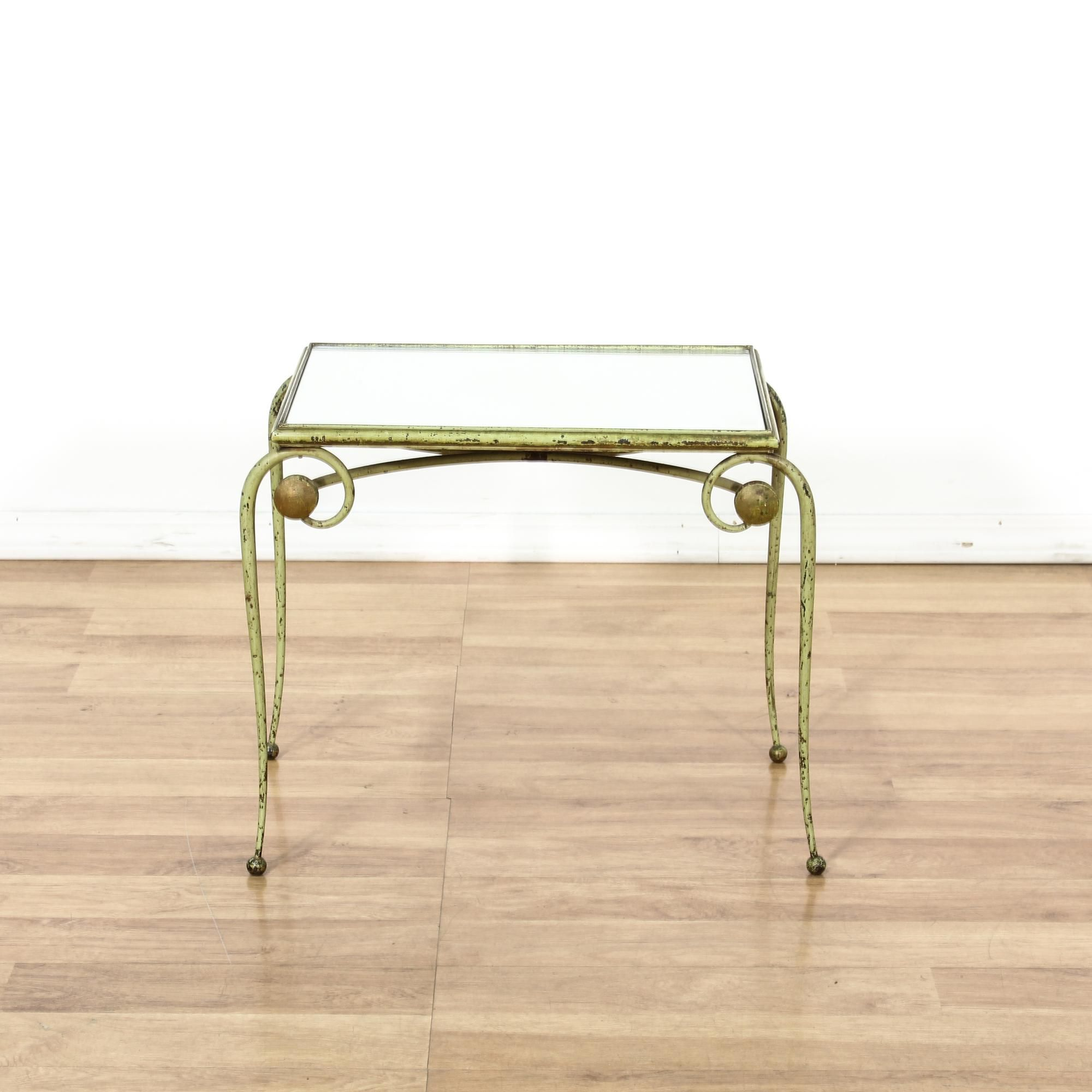 light green metal patina glass top end table glass table top